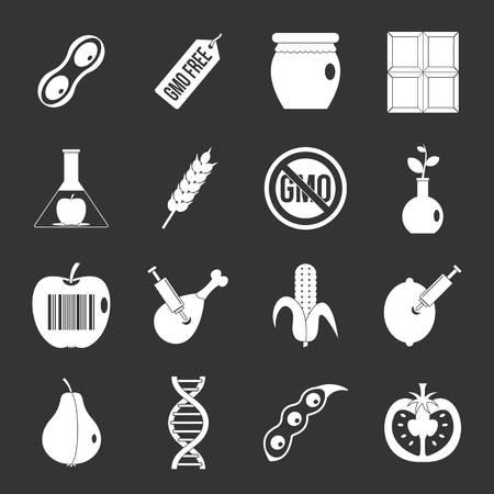GMO icons set grey Stockfoto