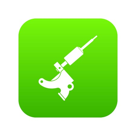 Coil tattoo machine icon digital green for any design isolated on white illustration 版權商用圖片