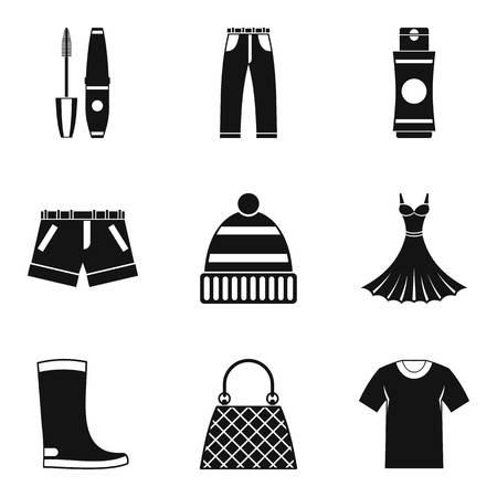 Stylish icons set. Simple set of 9 stylish icons for web isolated on white background