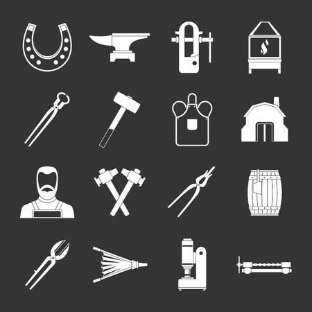 Blacksmith icons set white isolated on grey background Stock Photo