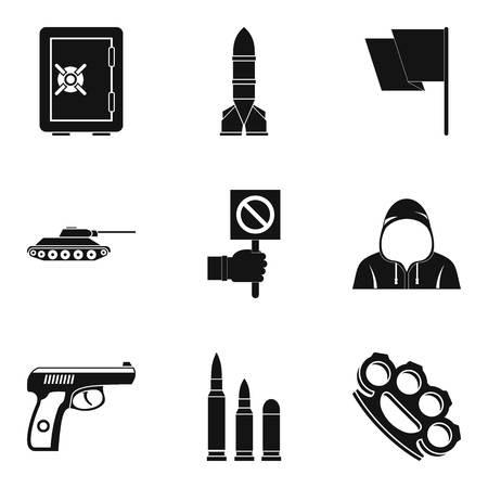 Insurrection icons set. Simple set of 9 insurrection icons for web isolated on white background Stock fotó
