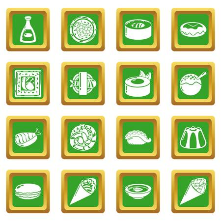 Japan food icons set green square isolated on white background