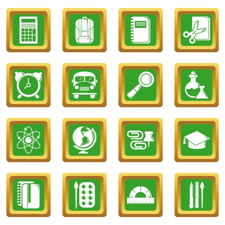 School education icons set green square isolated on white background