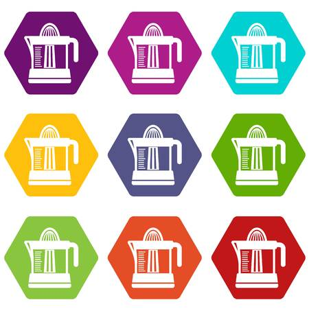 Juicer icons 9 set coloful isolated on white for web Stock Photo