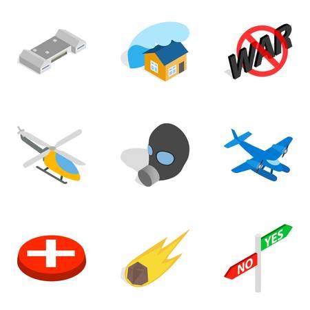 Defense icons set. Isometric set of 9 defense icons for web isolated on white background