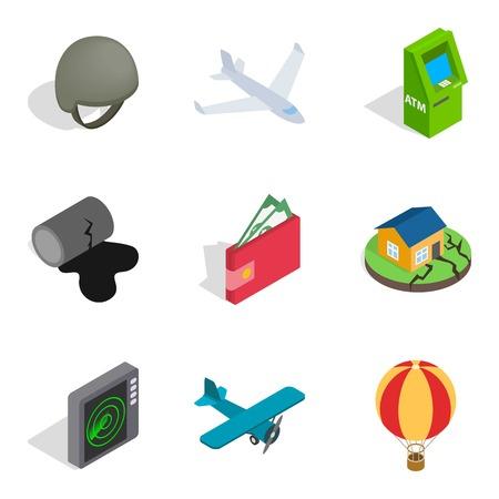 Feat icons set. Isometric set of 9 feat icons for web isolated on white background