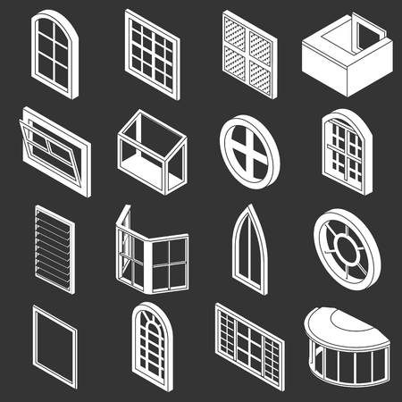 Window forms icons set white isolated on grey background