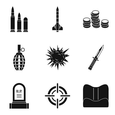 Punishment icons set. Simple set of 9 punishment icons for web isolated on white background