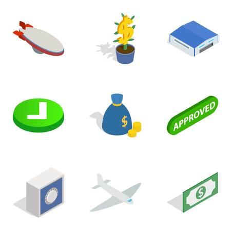 Military dictator icons set. Isometric set of 9 military dictator icons for web isolated on white background Фото со стока