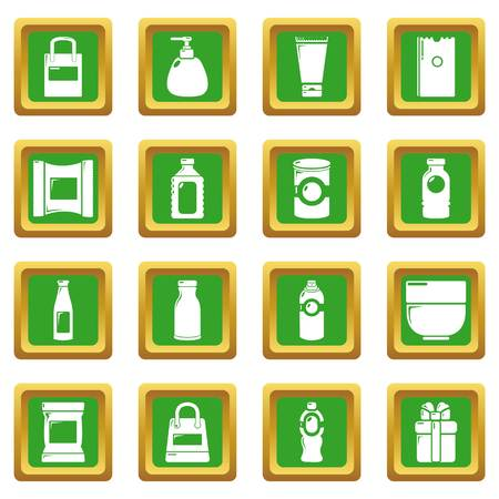 Packagiong store shop icons set green square isolated on white background