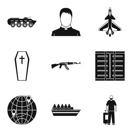 Contingent icons set. Simple set of 9 contingent icons for web isolated on white background