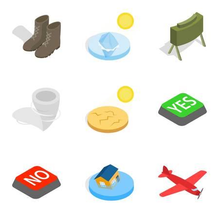 Warmonger icons set. Isometric set of 9 warmonger icons for web isolated on white background