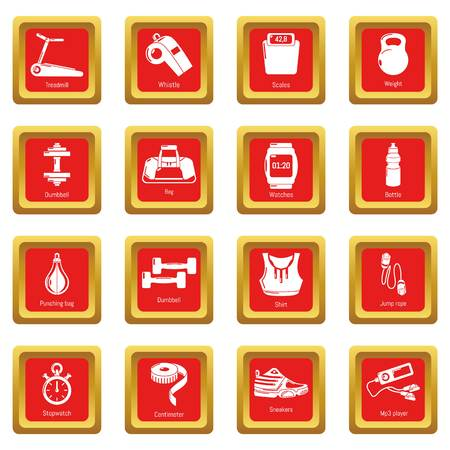Gym sport icons set red square