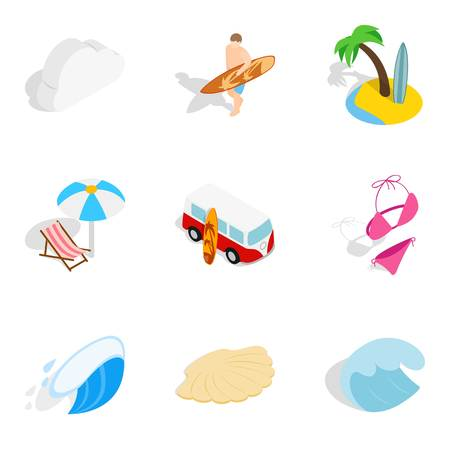 River flow icons set, isometric style