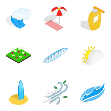 Water adventure icons set, isometric style