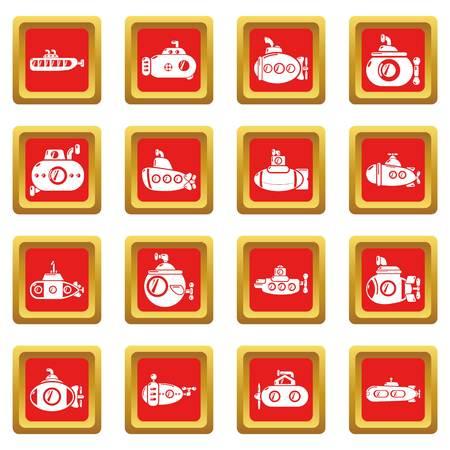 Submarine icons set red square