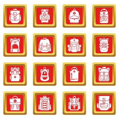 Backpack icons set red square