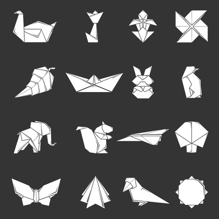 Origami icons set grey