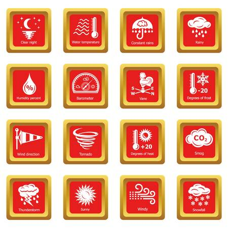 Weater icons set red square