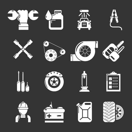 Auto repair icons set white isolated on grey background Stock Photo