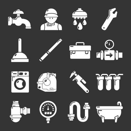Plumber symbols icons set white isolated on grey background