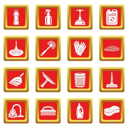 Cleaning icons set red square isolated on white background Stok Fotoğraf