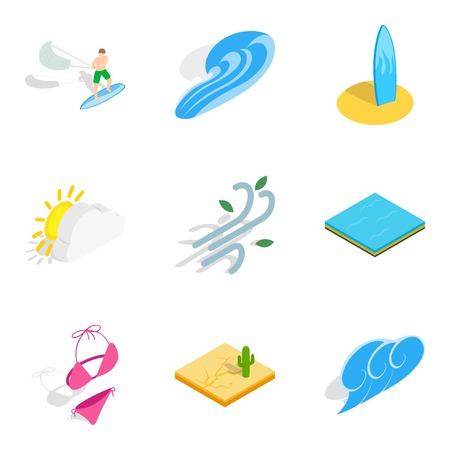 Pastime icons set. Isometric set of 9 pastime icons for web isolated on white background