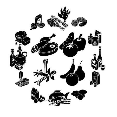 Shop navigation foods icons set. Simple illustration of 16 shop navigation foods icons for web Banque d'images