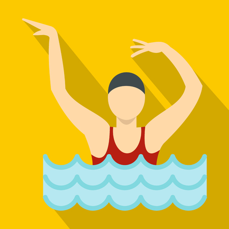 Dancing figure in a swimming pool icon. Flat illustration of dancing figure in a swimming pool icon for web Stockfoto