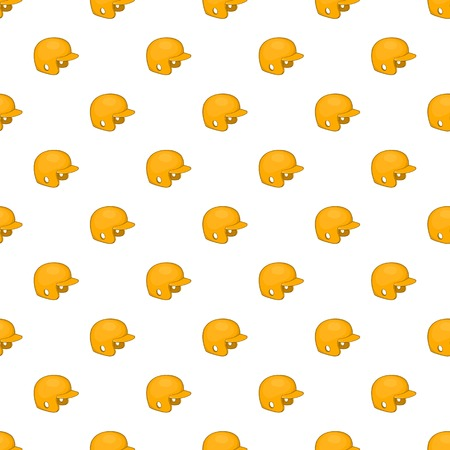 Yellow baseball helmet pattern. Cartoon illustration of yellow baseball helmet pattern for web