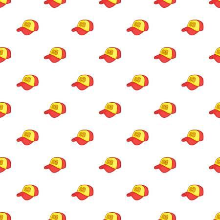 Baseball cap pattern. Cartoon illustration of baseball cap pattern for web