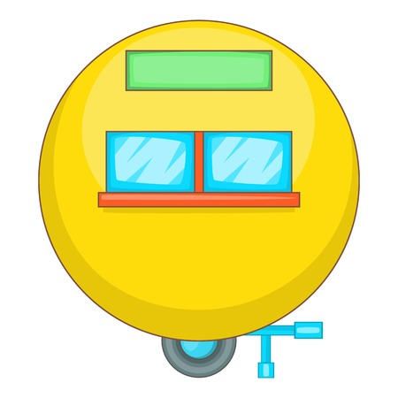 Camping trailer icon. Cartoon illustration of camping trailer icon for web design