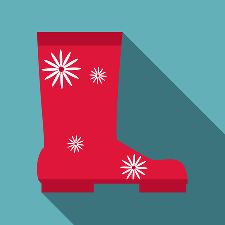 Rubber boot icon, flat style