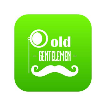 Old gentlemen icon green isolated on white background Stock Photo