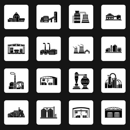 Set of Factory building, production equipment, cranes and warehouses. silhouettes on a white background for any design style Banque d'images - 107557359