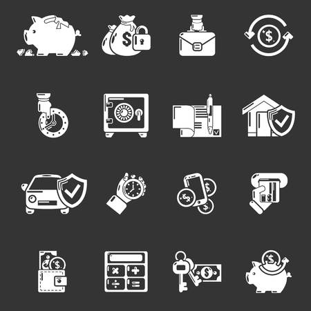 Credit icons set white isolated on grey background Banque d'images