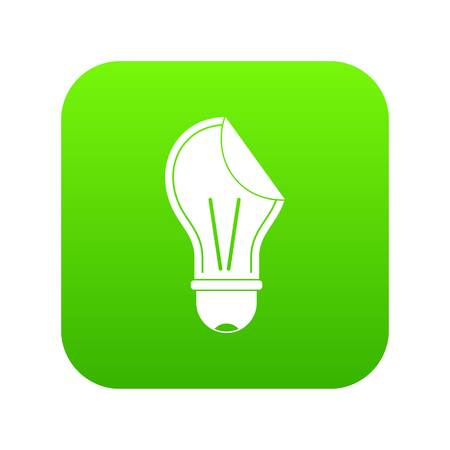 Bulb sticker icon digital green for any design isolated on white illustration