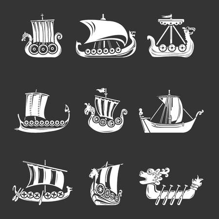 Viking ship boat drakkar icons set white isolated on grey background Archivio Fotografico