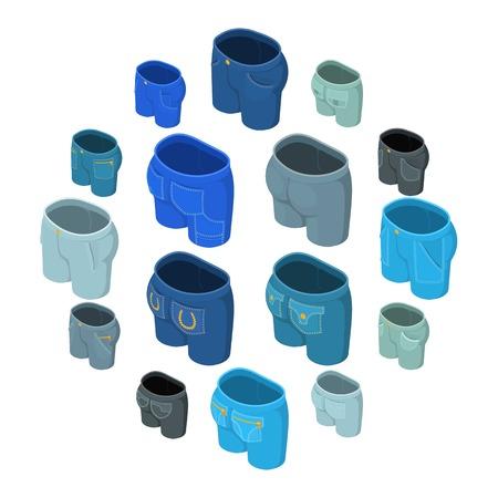 Pants pockets design icons set. Isometric illustration of 16 pants pockets design icons set icons for web