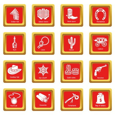 Wild west icons set red square isolated on white background Banque d'images