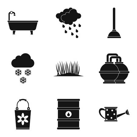 Hydroscheme icons set. Simple set of 9 hydroscheme icons for web isolated on white background