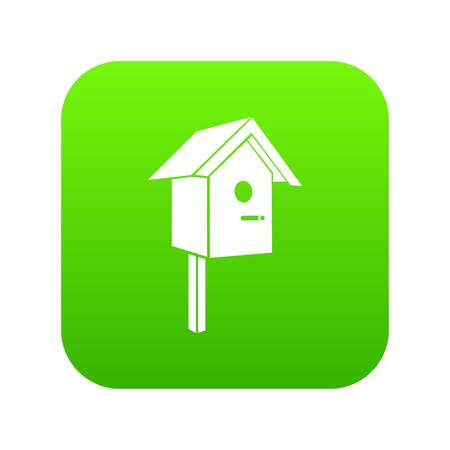 Birdhouse icon green isolated on white background
