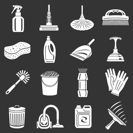 Cleaning icons set white isolated on grey background