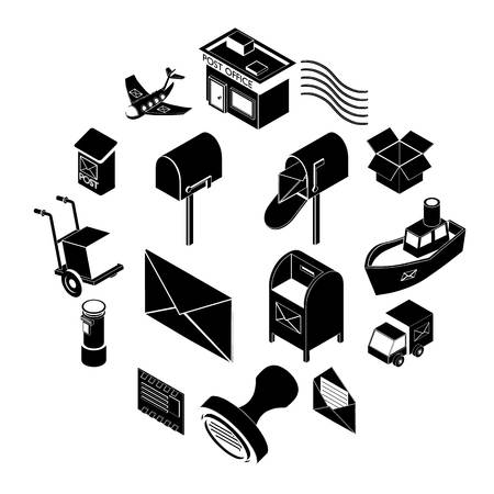 Poste service icons set. Simple illustration of 16 poste service icons set icons for web Banque d'images
