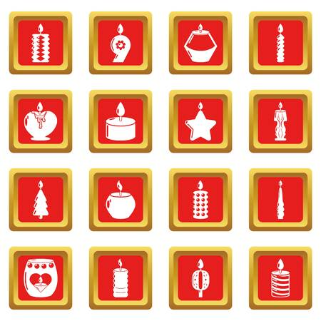 Candle forms icons set red square isolated on white background Stock Photo