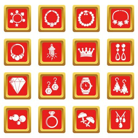 Jewelry shop icons set red square isolated on white background