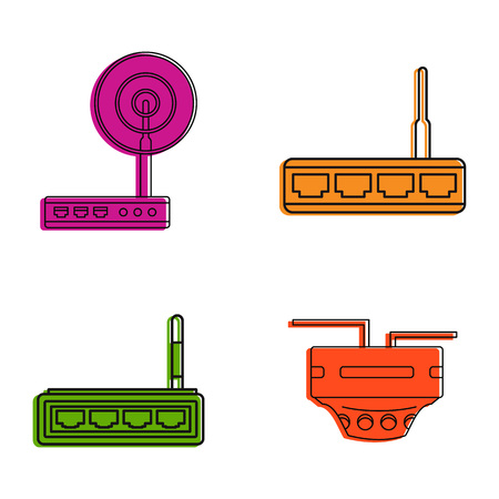 Router icon set. Color outline set of router icons for web design isolated on white background