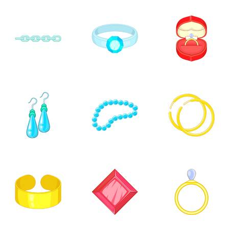 Luxury jewels icons set, cartoon style