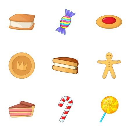 Confectionery icons set, cartoon style