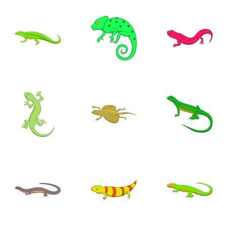 Amphibian icons set, cartoon style